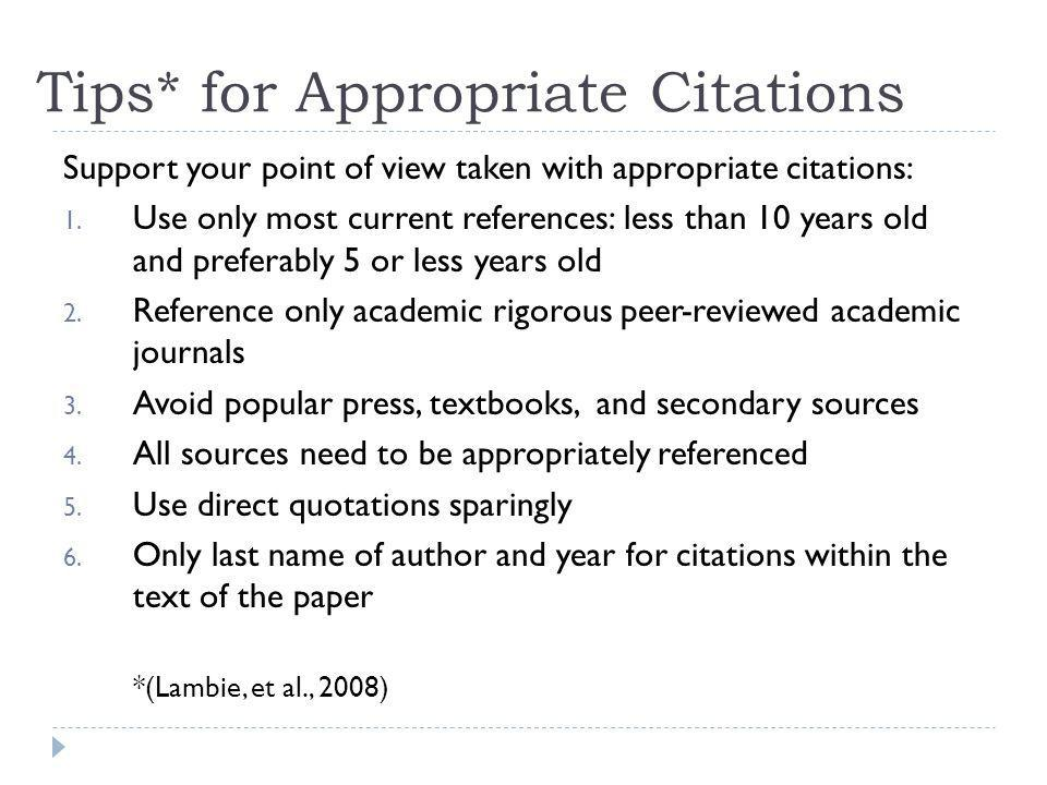 Tips* for Appropriate Citations