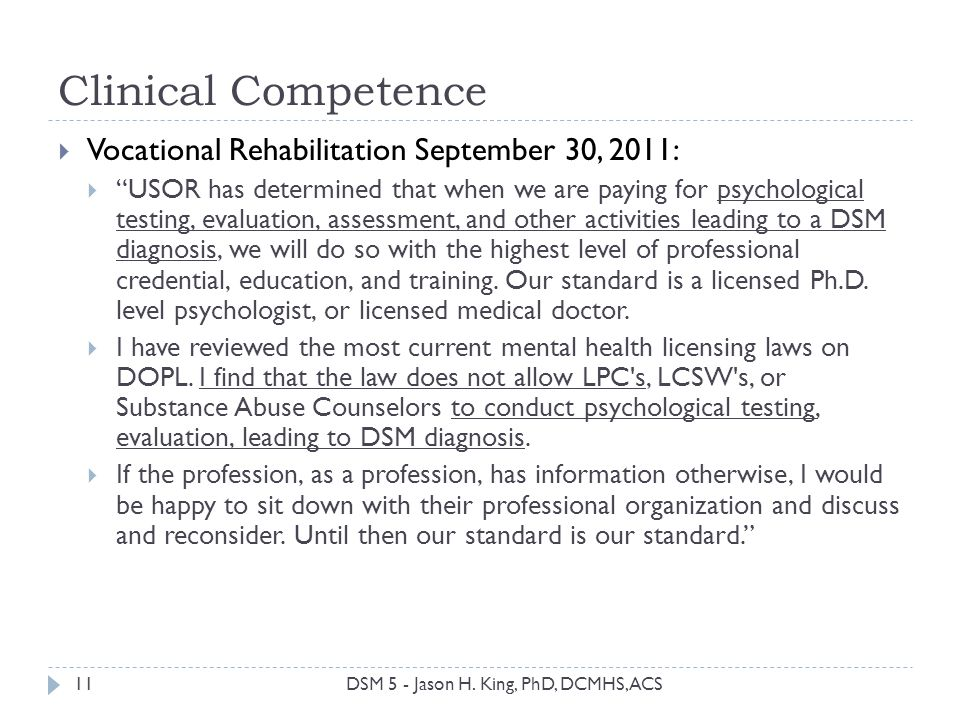 Clinical Competence Vocational Rehabilitation September 30, 2011: