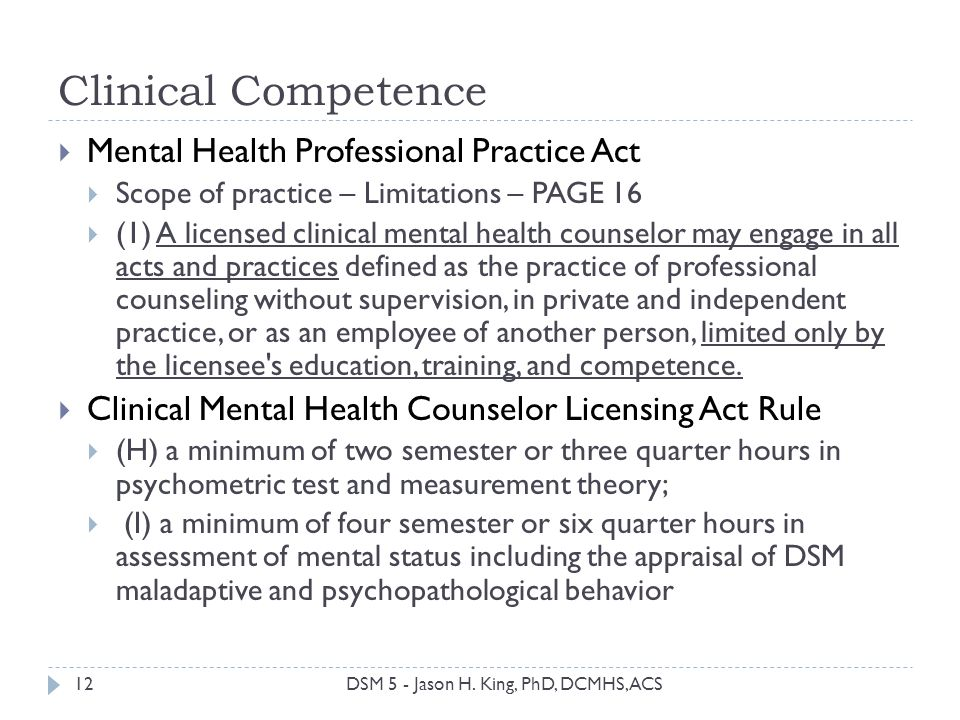 Clinical Competence Mental Health Professional Practice Act