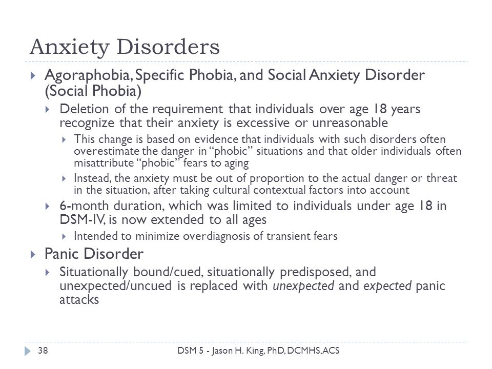 Anxiety Disorders Agoraphobia, Specific Phobia, and Social Anxiety Disorder (Social Phobia)