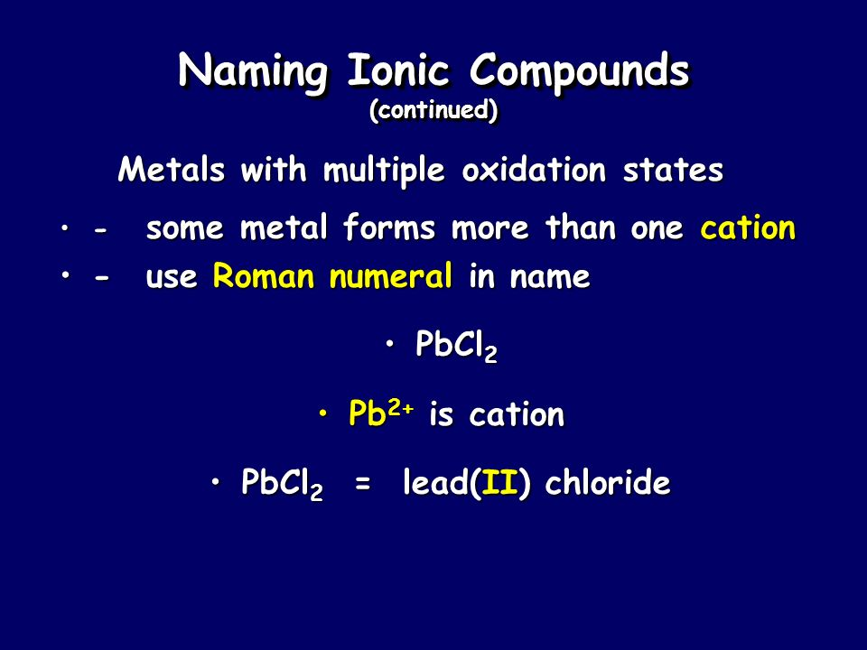 Naming Ionic Compounds (continued)