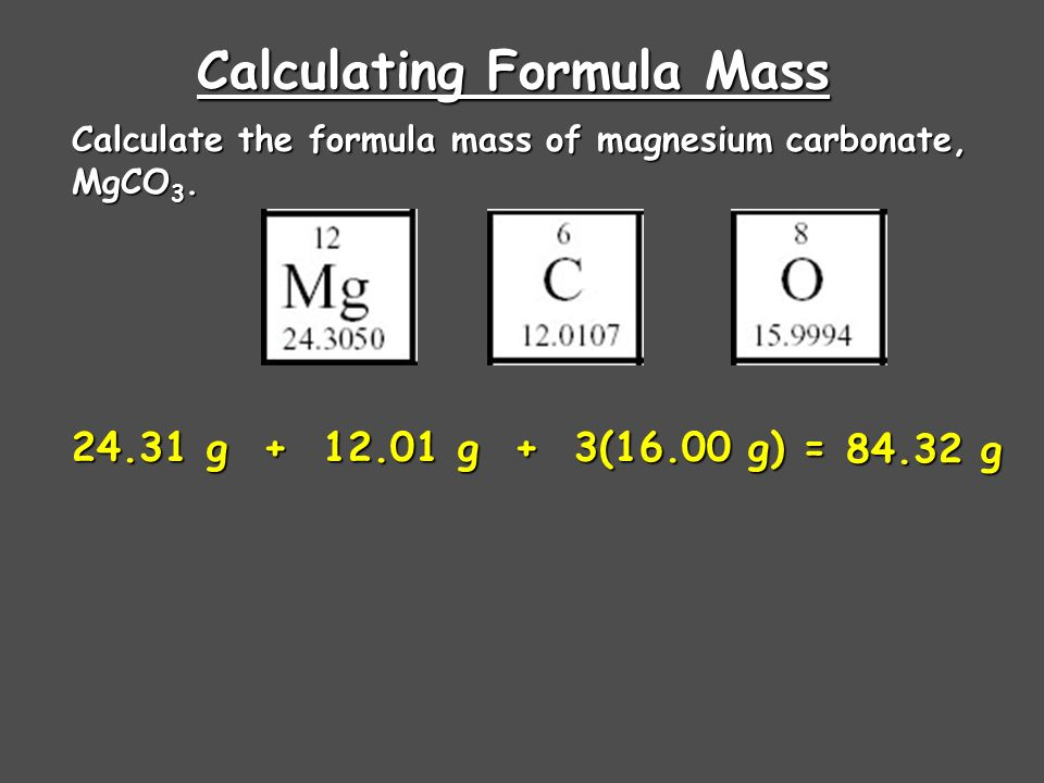 Calculating Formula Mass