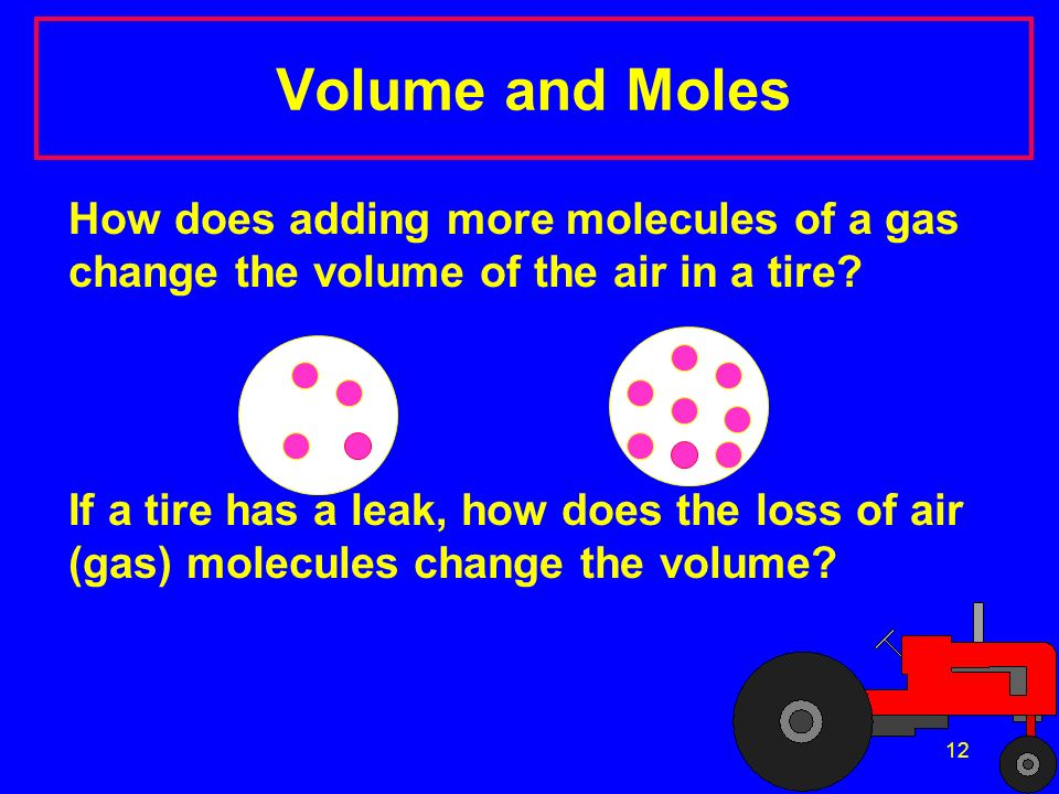 Volume and Moles How does adding more molecules of a gas change the volume of the air in a tire