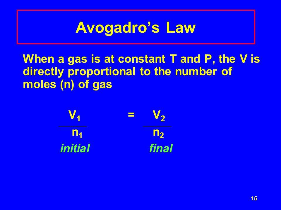 Avogadro's Law V1 = V2 n1 n2 initial final