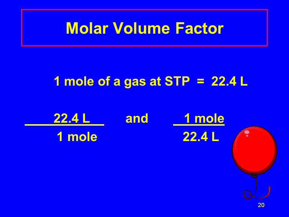 Molar Volume Factor 1 mole of a gas at STP = 22.4 L 22.4 L and 1 mole