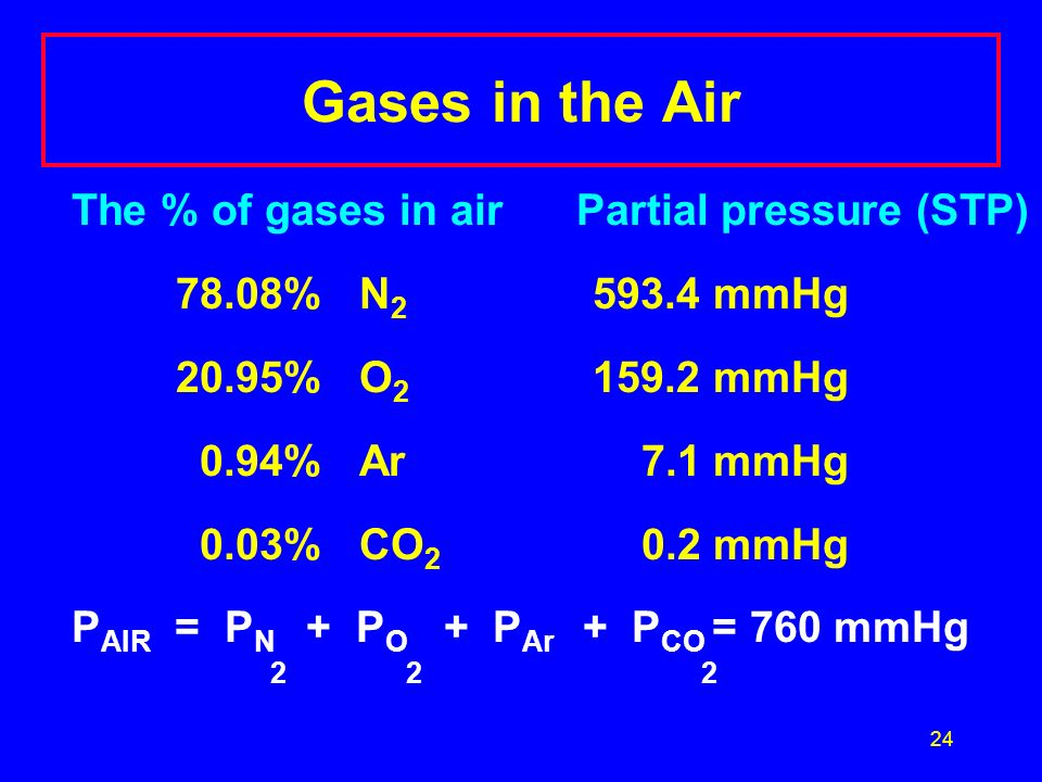 Gases in the Air The % of gases in air Partial pressure (STP)