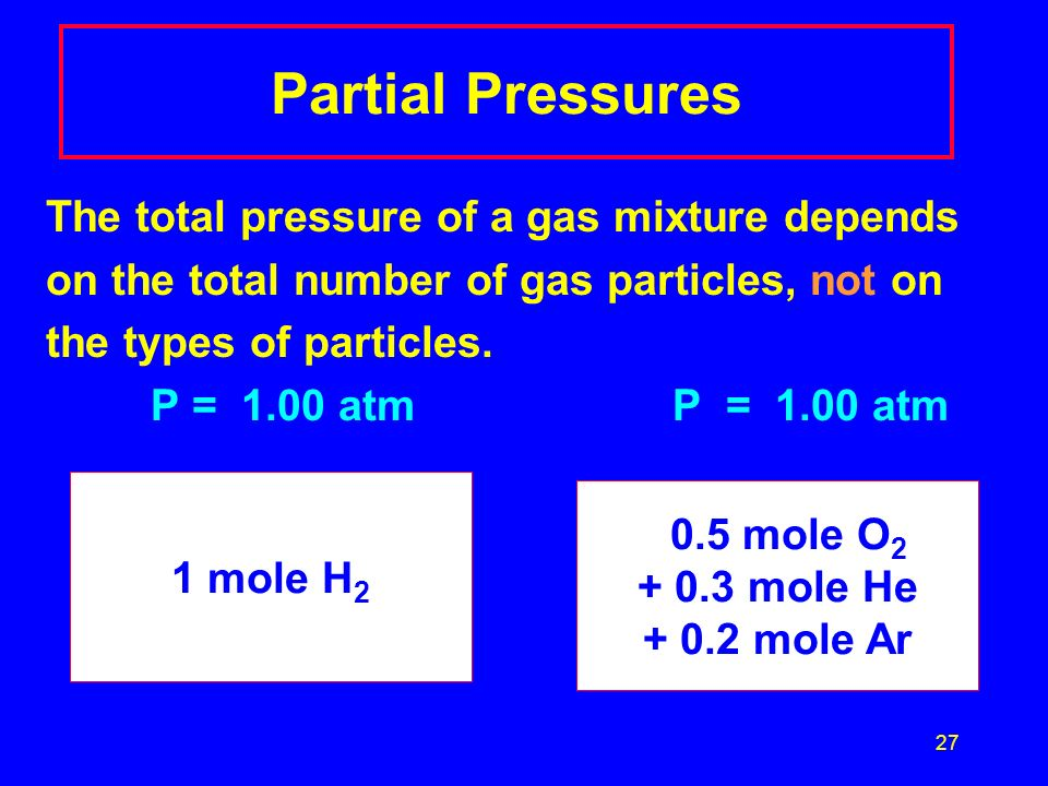Partial Pressures The total pressure of a gas mixture depends