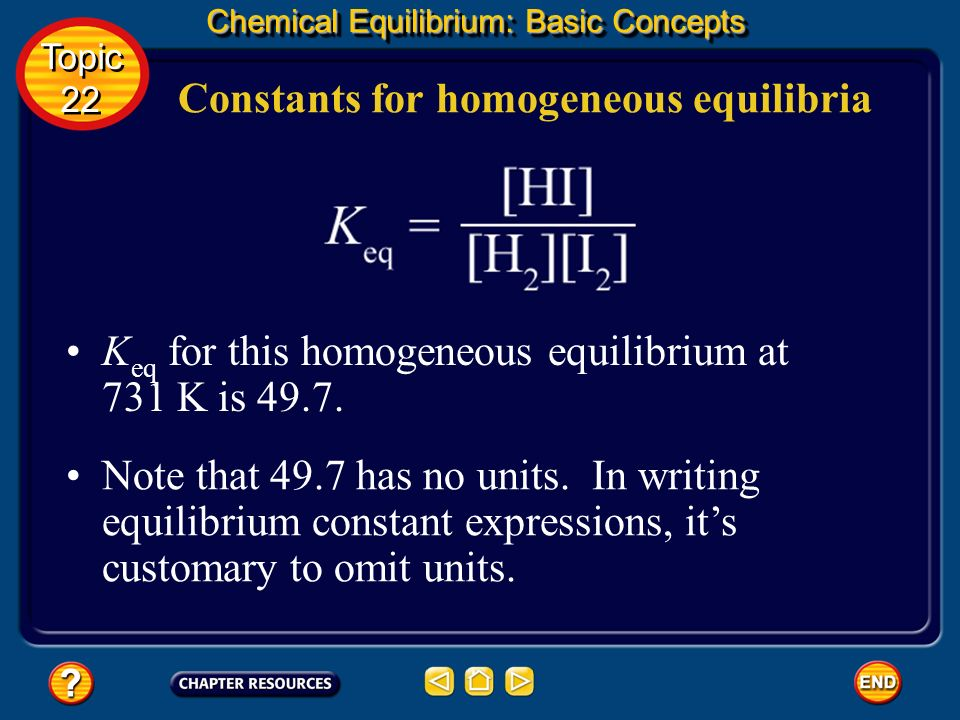 Constants for homogeneous equilibria