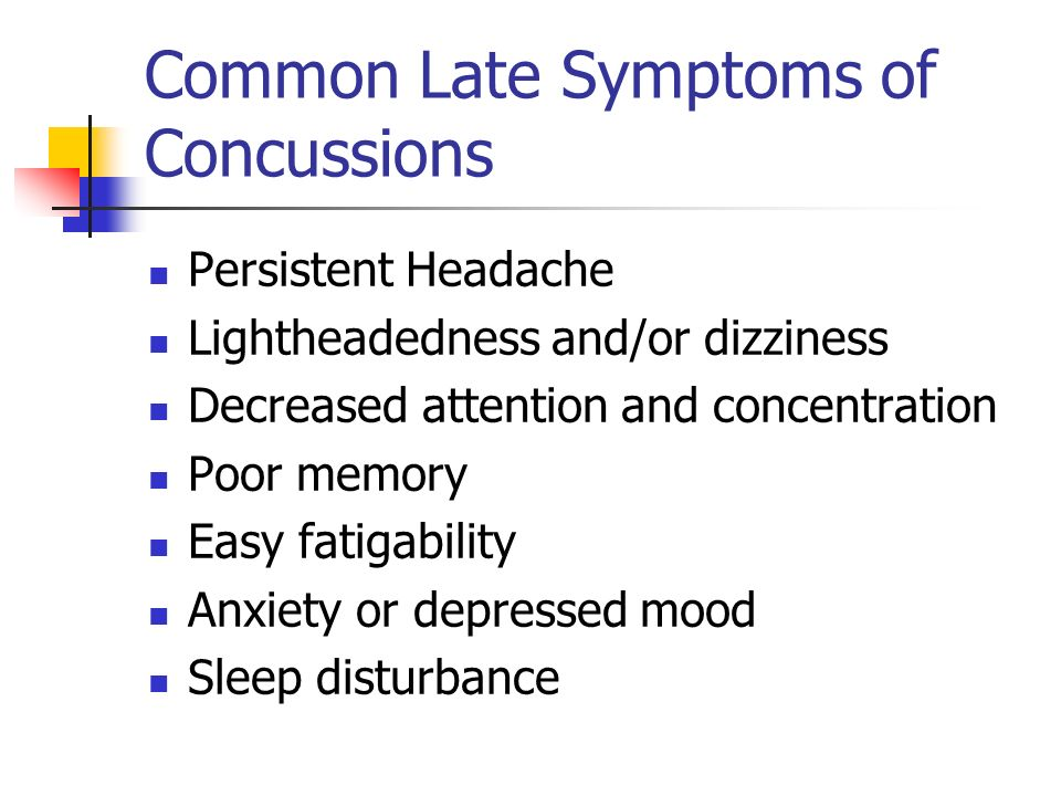 Common Late Symptoms of Concussions