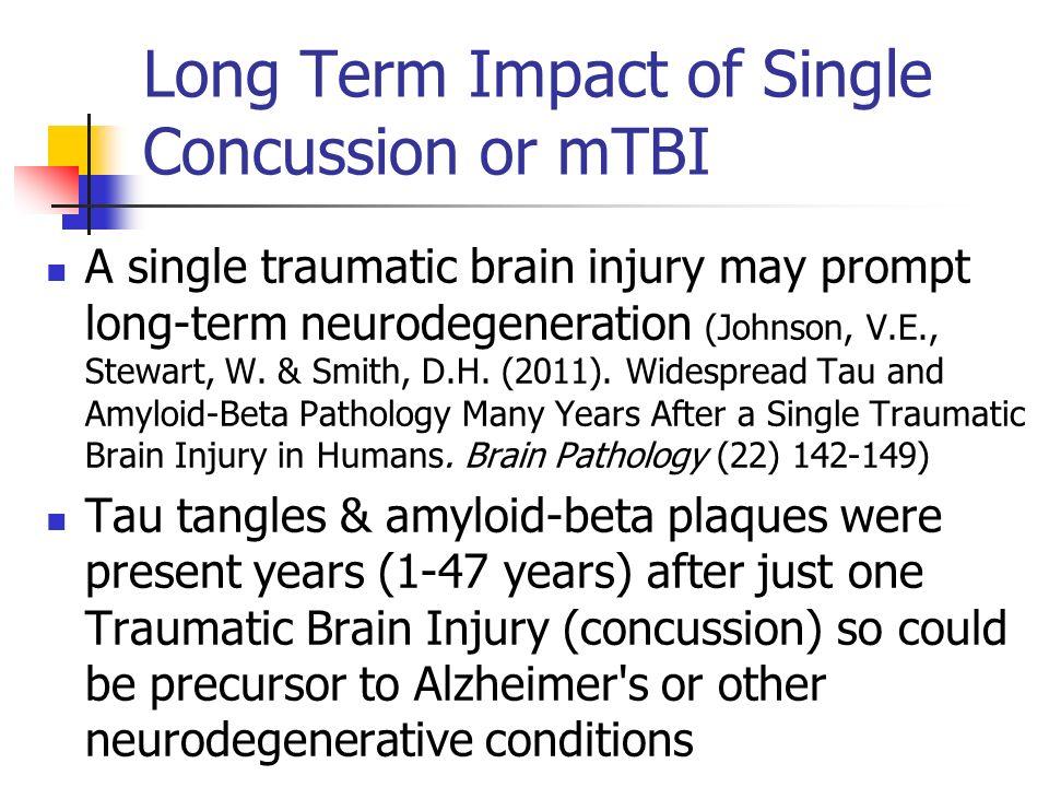 Long Term Impact of Single Concussion or mTBI