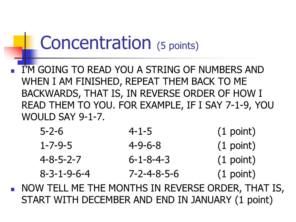 Concentration (5 points)