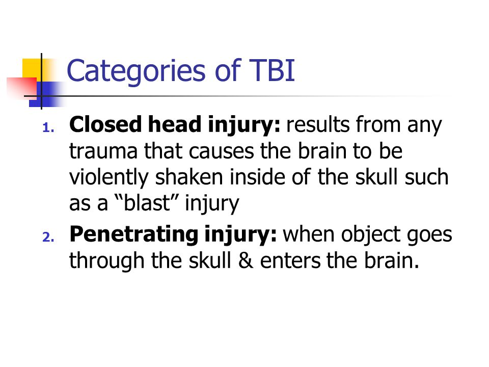Categories of TBI