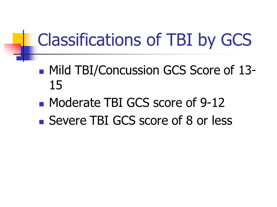 Classifications of TBI by GCS