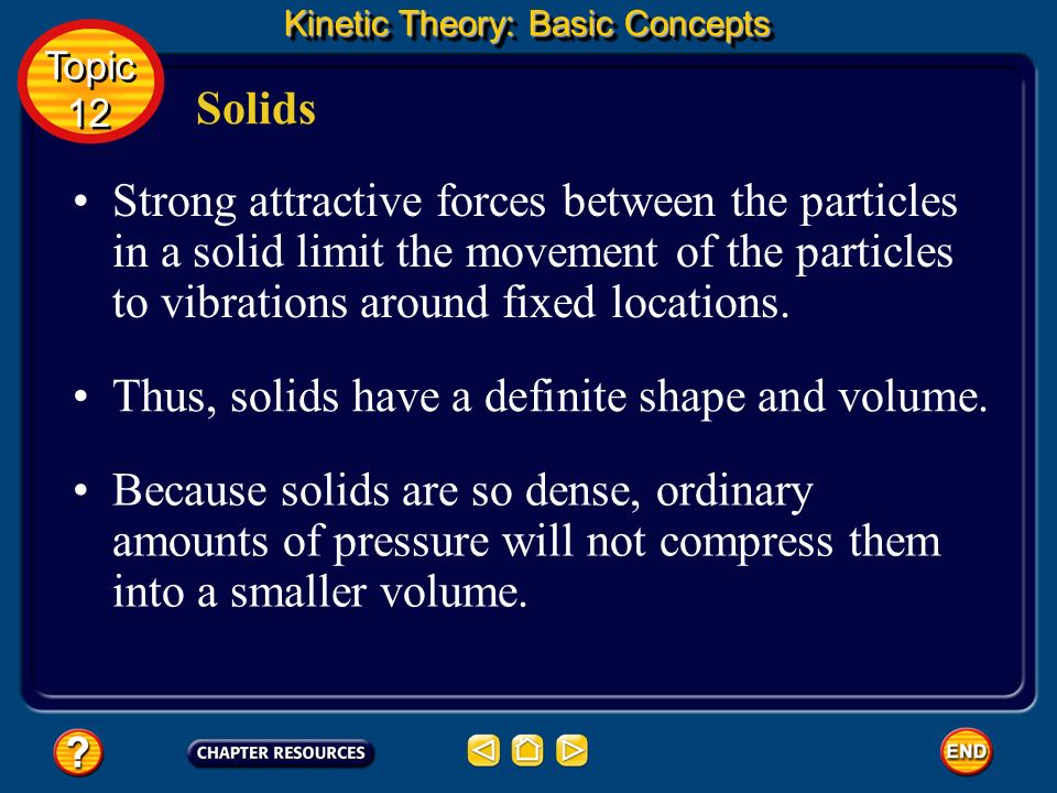 Thus, solids have a definite shape and volume.