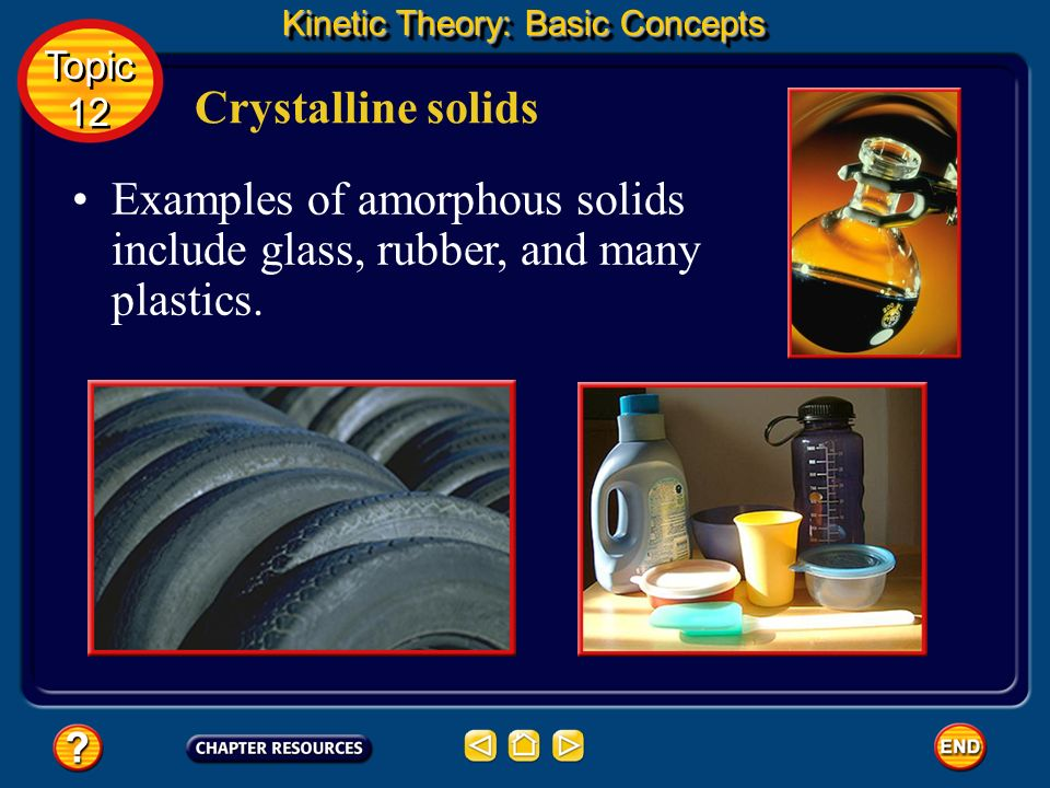 Examples of amorphous solids include glass, rubber, and many plastics.