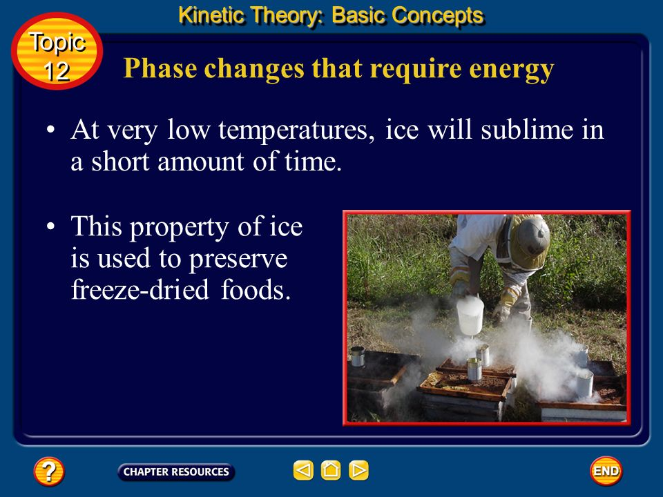 Phase changes that require energy