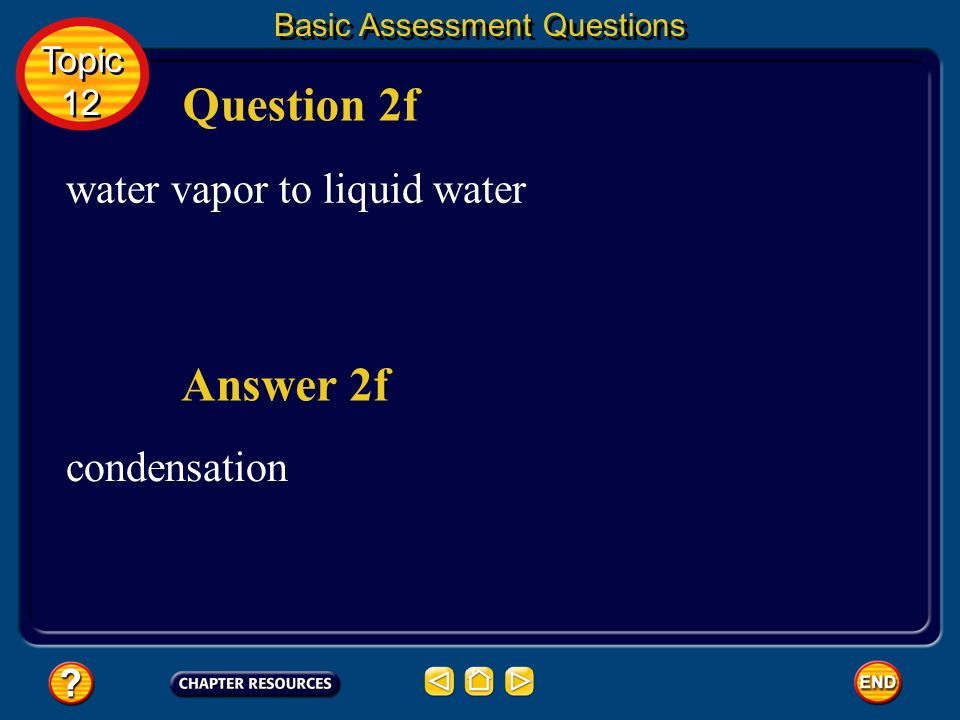 Question 2f Answer 2f water vapor to liquid water condensation Topic