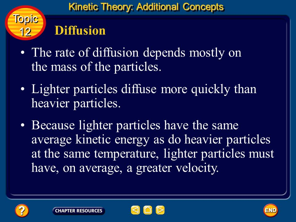 The rate of diffusion depends mostly on the mass of the particles.