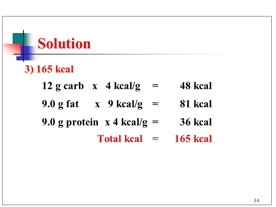 Solution 3) 165 kcal 12 g carb x 4 kcal/g = 48 kcal