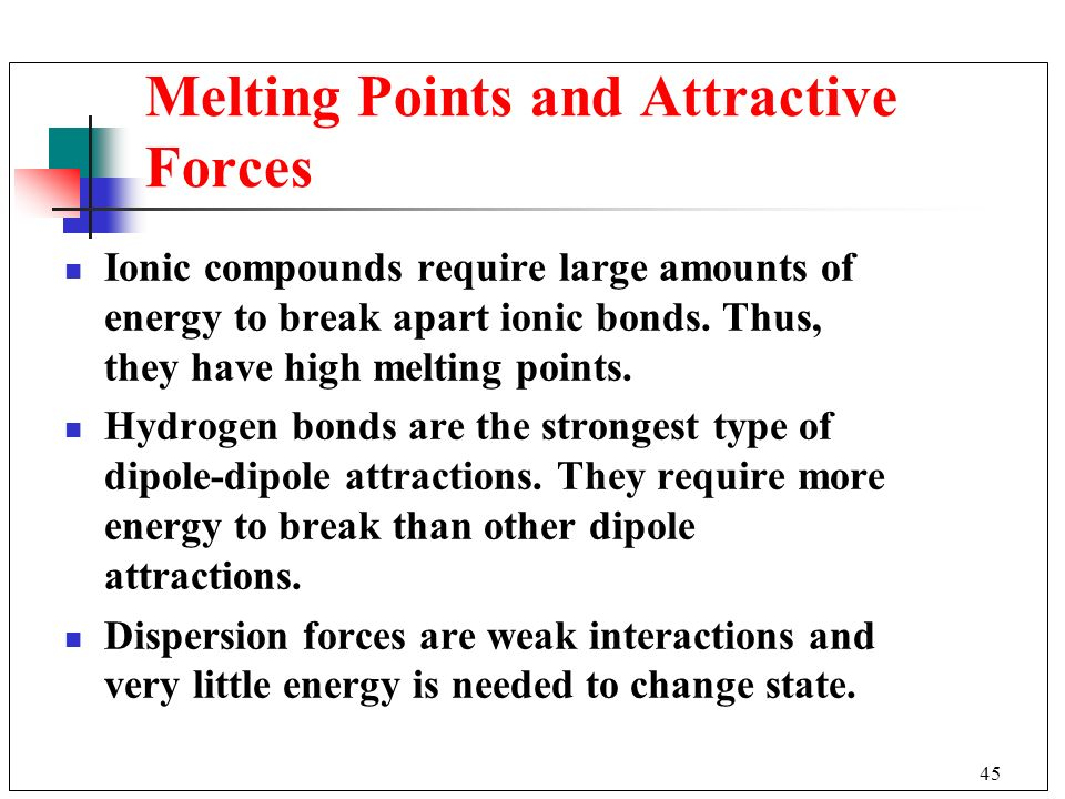 Melting Points and Attractive Forces