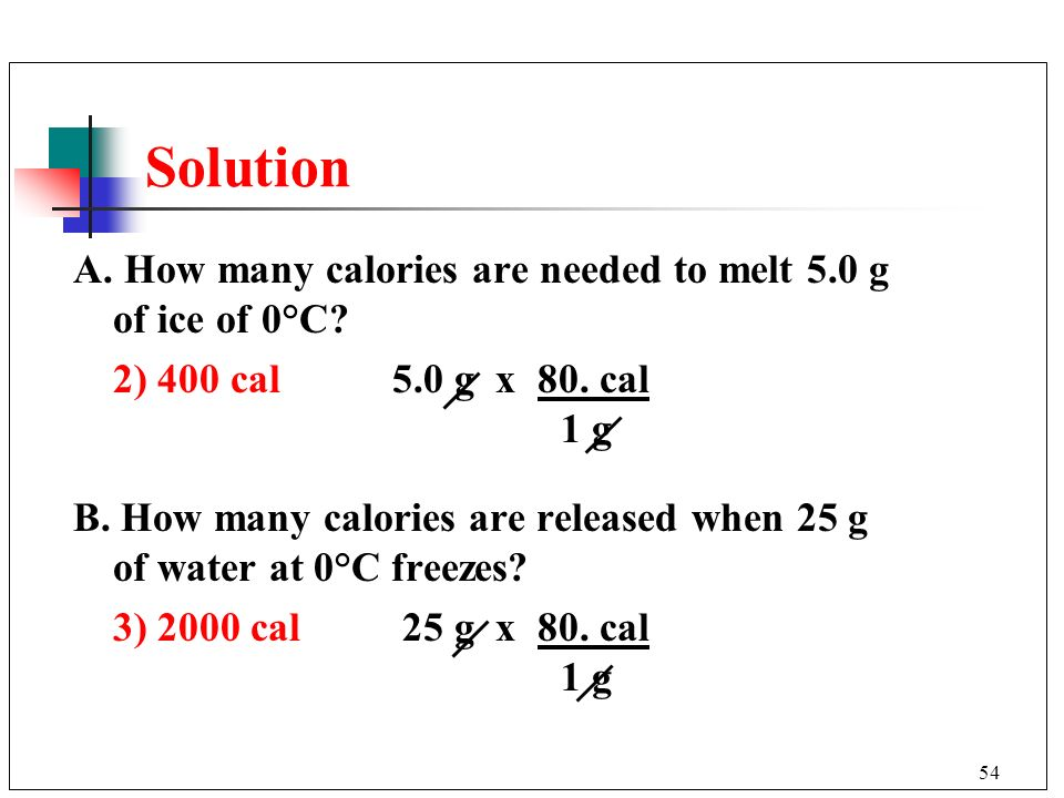 Solution A. How many calories are needed to melt 5.0 g of ice of 0°C