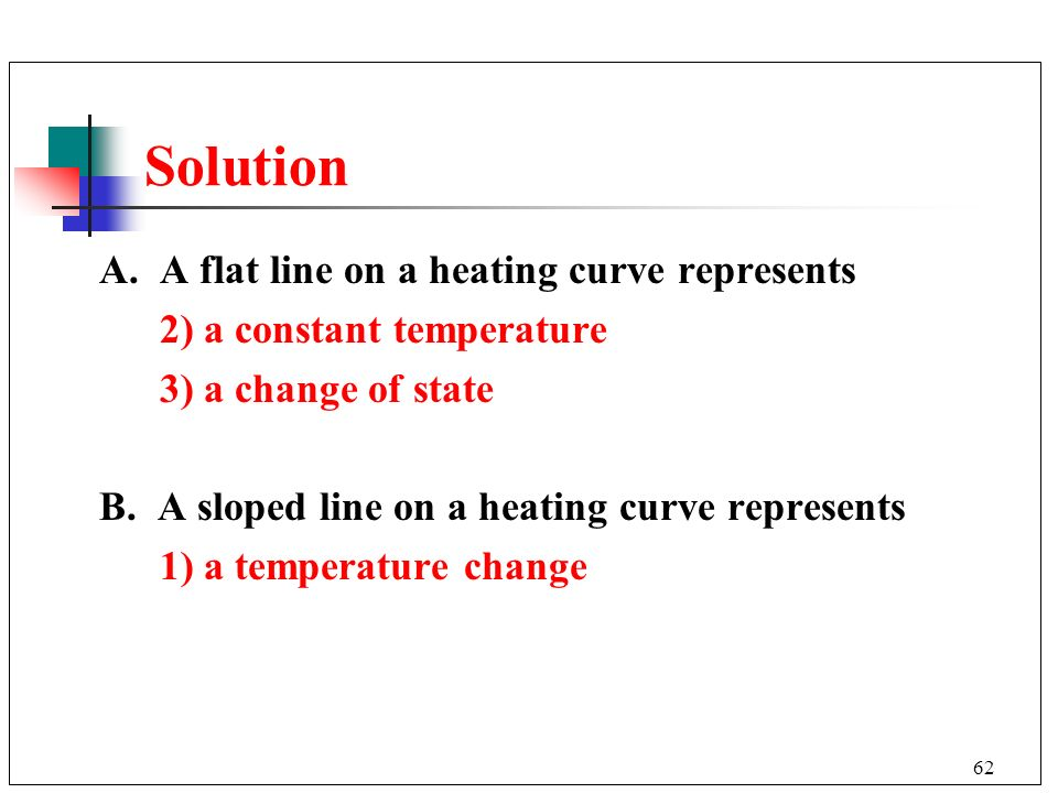 Solution A. A flat line on a heating curve represents