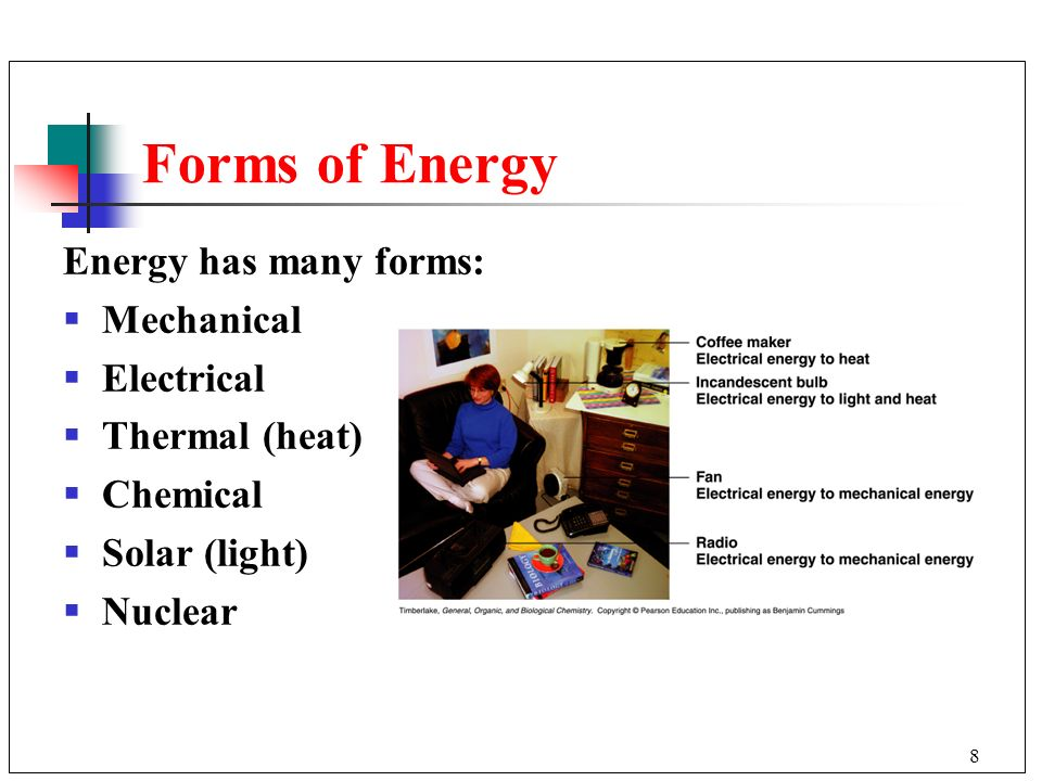 Forms of Energy Energy has many forms: Mechanical Electrical