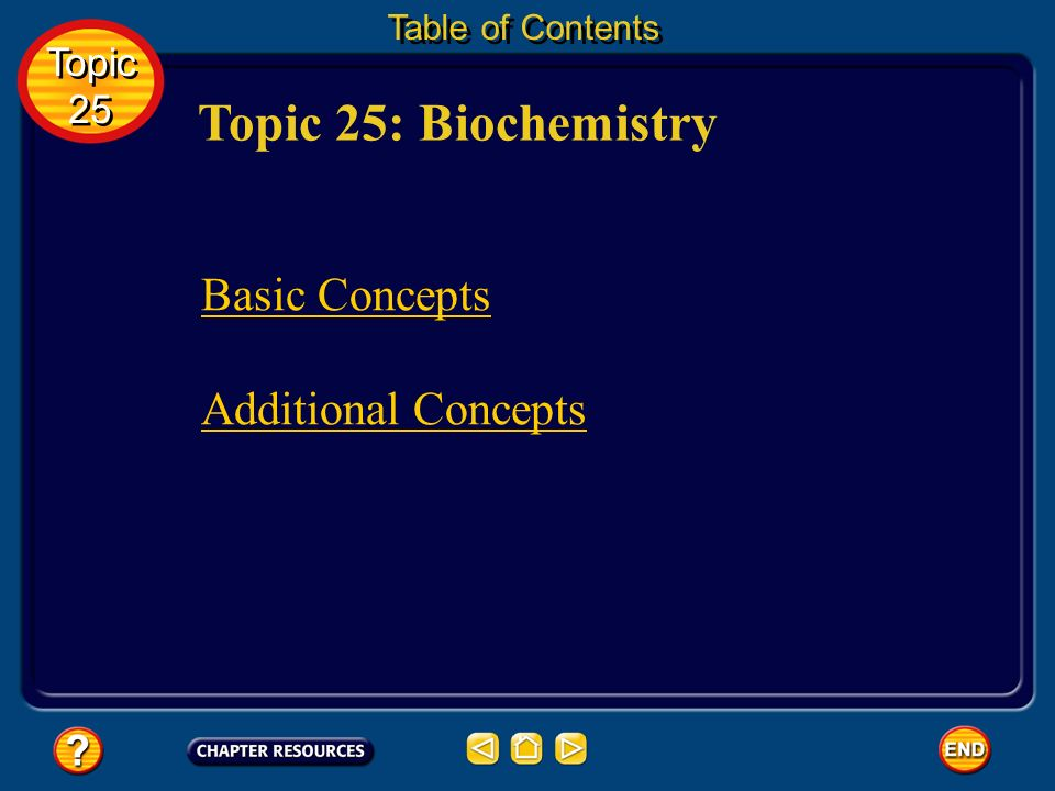 Topic 25: Biochemistry Basic Concepts Additional Concepts Topic 25
