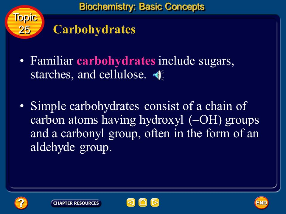 Familiar carbohydrates include sugars, starches, and cellulose.