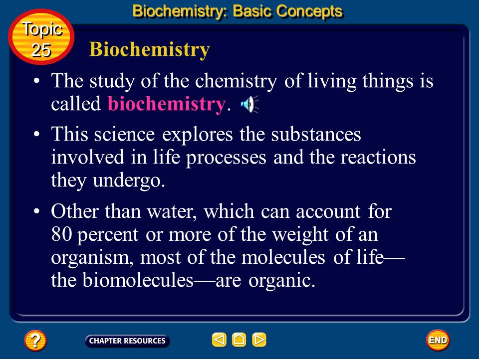 The study of the chemistry of living things is called biochemistry.
