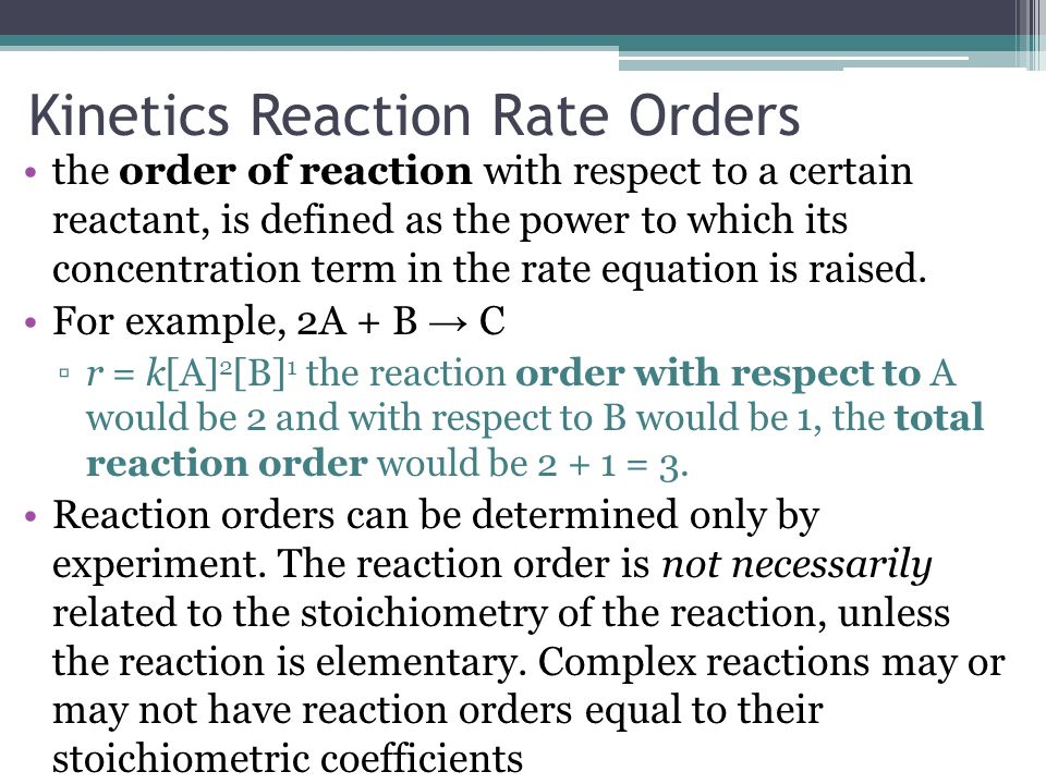 Kinetics Reaction Rate Orders