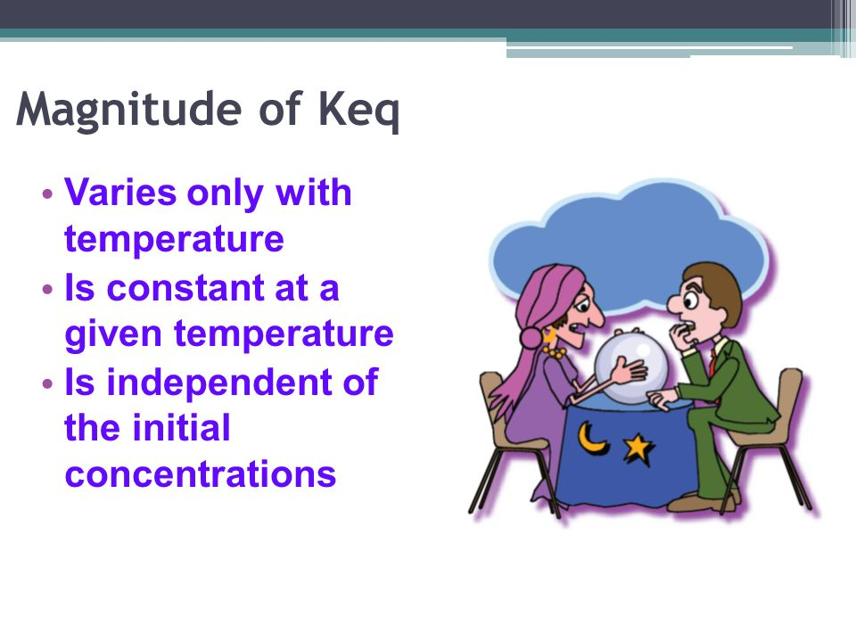 Magnitude of Keq Varies only with temperature