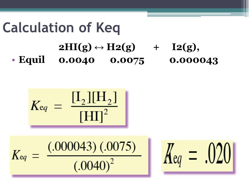 Calculation of Keq 2HI(g) ↔ H2(g) + I2(g),