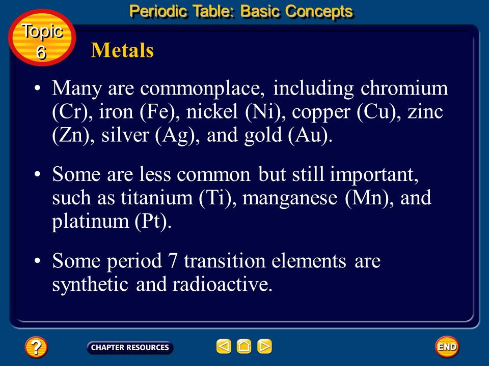 Some period 7 transition elements are synthetic and radioactive.