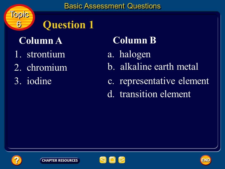 Question 1 Column A Column B a. halogen b. alkaline earth metal
