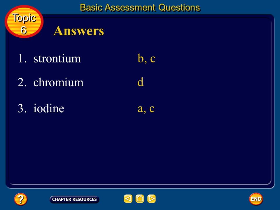 Answers 1. strontium b, c 2. chromium d 3. iodine a, c Topic 6