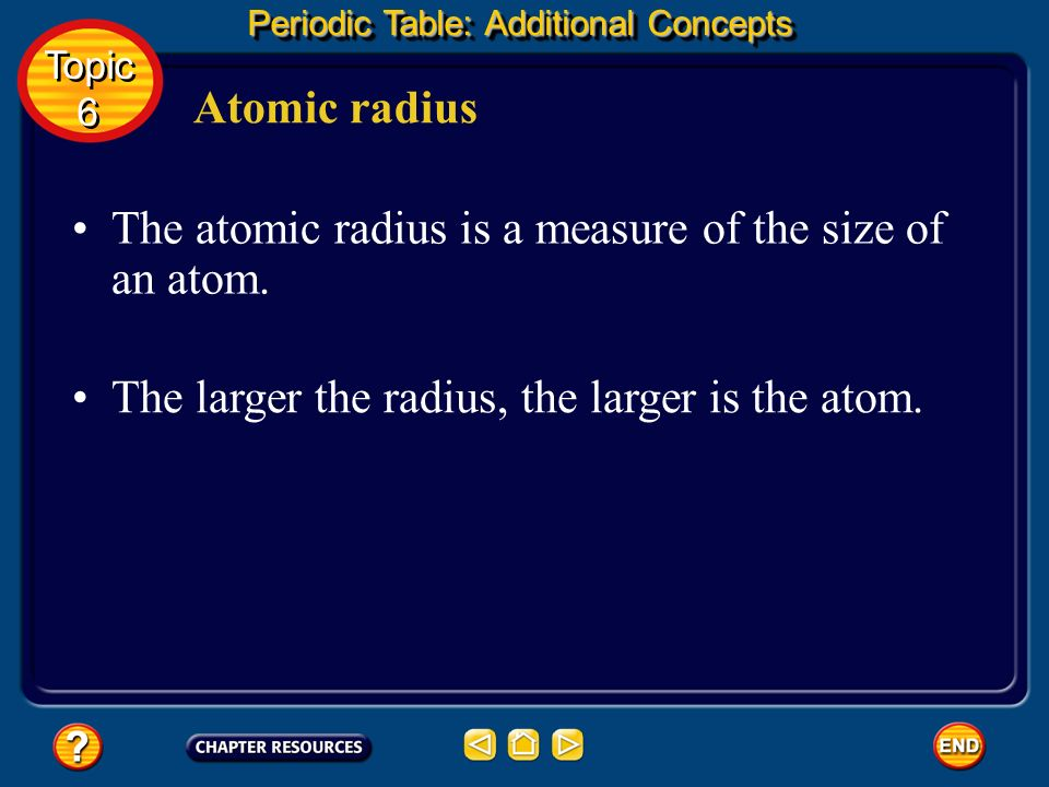 The atomic radius is a measure of the size of an atom.