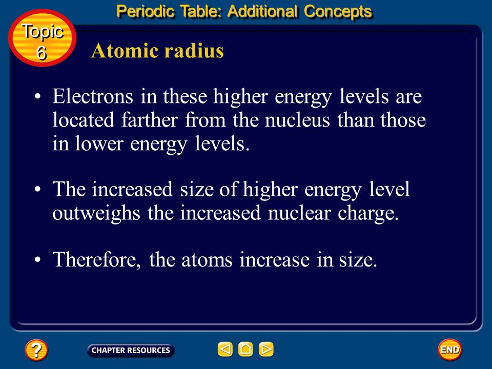 Therefore, the atoms increase in size.