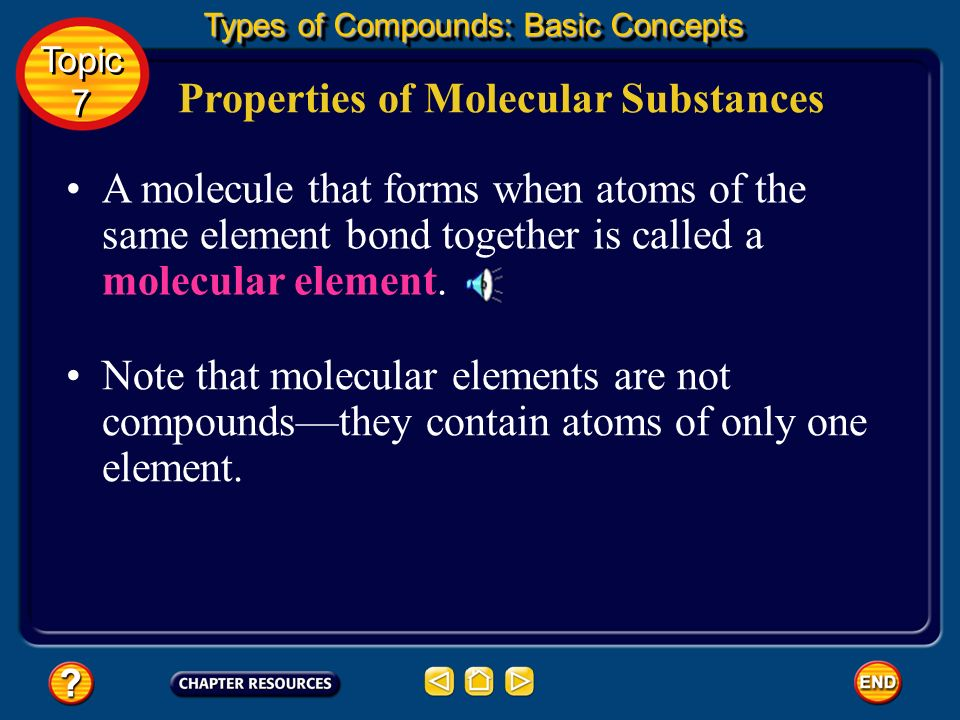 Properties of Molecular Substances