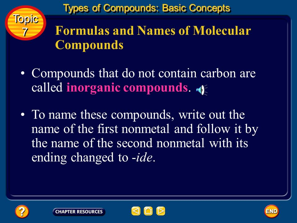 Formulas and Names of Molecular Compounds