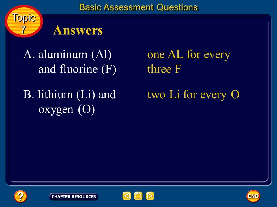 Answers A. aluminum (Al) and fluorine (F) one AL for every three F