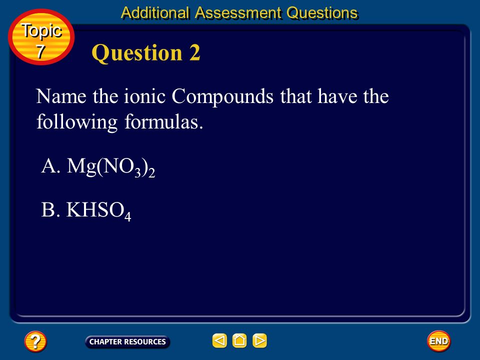 Question 2 Name the ionic Compounds that have the following formulas.