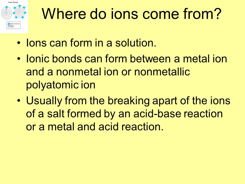 Where do ions come from Ions can form in a solution.