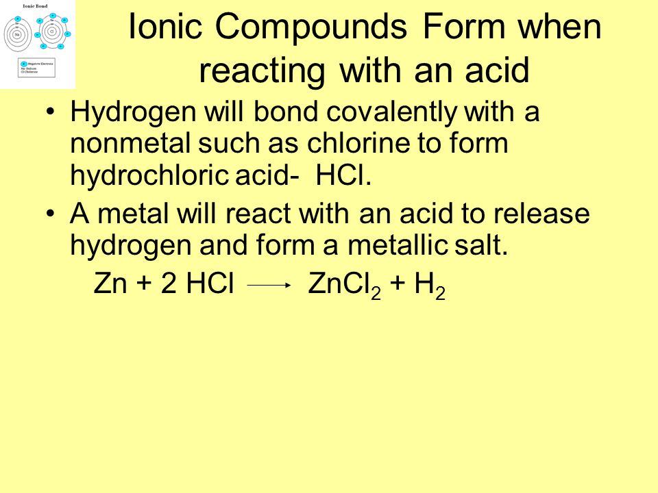 Ionic Compounds Form when reacting with an acid