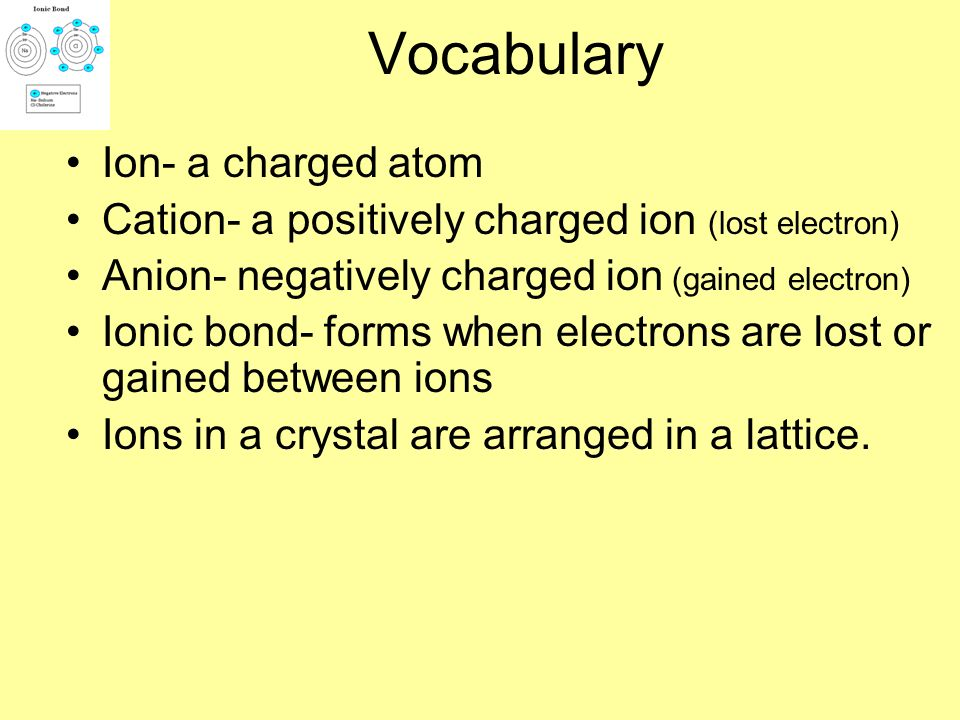 Vocabulary Ion- a charged atom