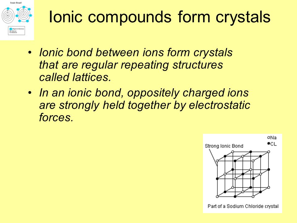 Ionic compounds form crystals