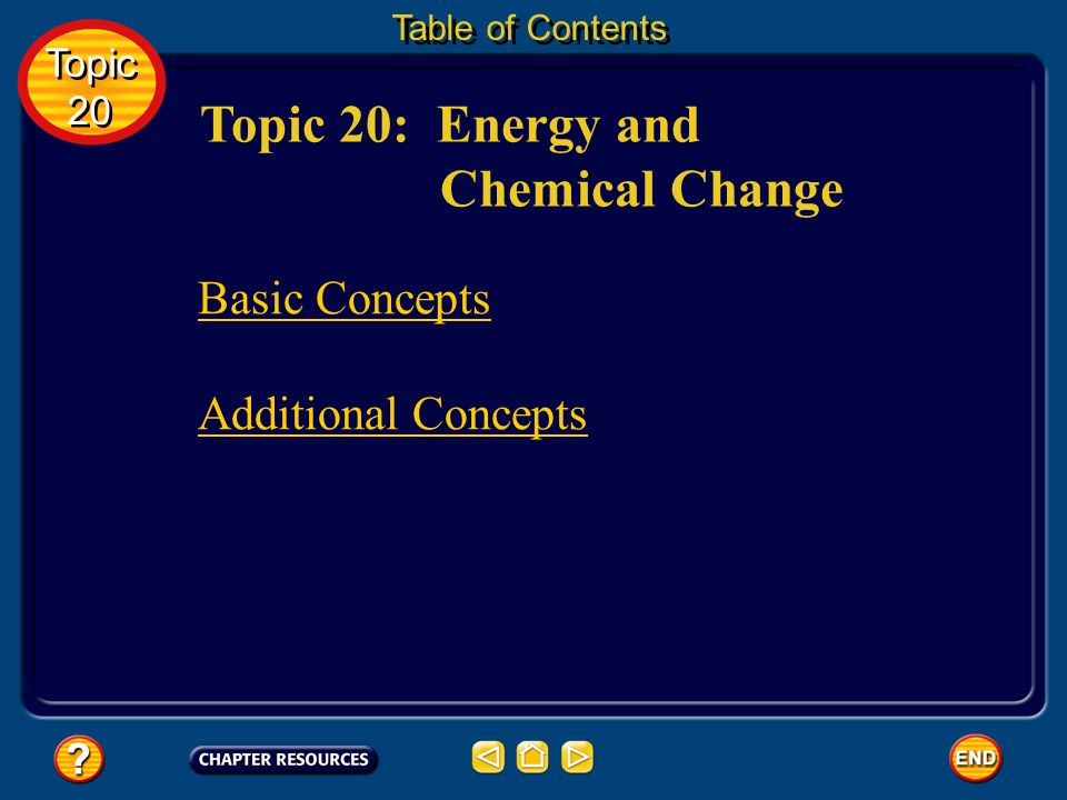 Topic 20: Energy and Chemical Change