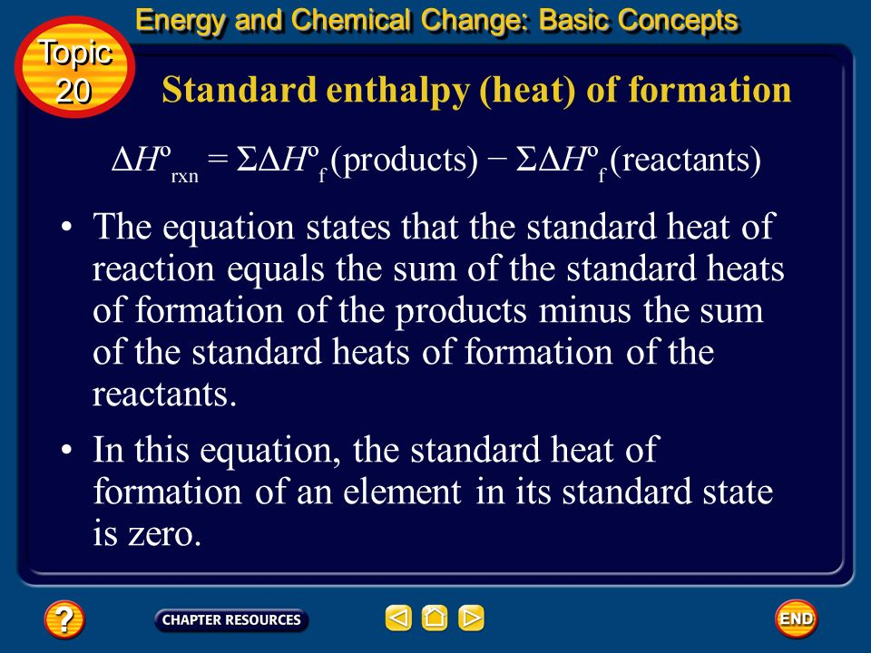 Standard enthalpy (heat) of formation