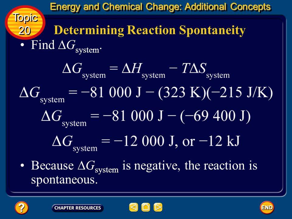 Determining Reaction Spontaneity Find ∆Gsystem.