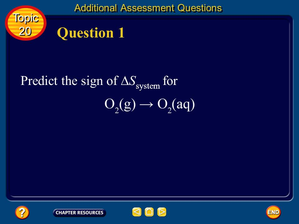 Question 1 Predict the sign of ∆Ssystem for Topic 20